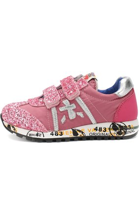 Детские текстильные кроссовки с застежками велькро с глиттером Premiata will be розового цвета | Фото №1