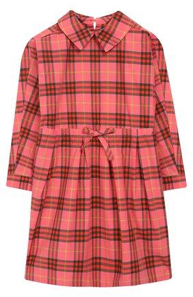 Хлопковое платье с поясом на кулиске | Фото №1