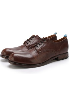 Кожаные дерби на шнуровке Moma коричневые | Фото №1