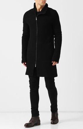 Высокие кожаные ботинки на шнуровке с внутренней меховой отделкой Moma темно-коричневые | Фото №1