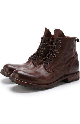 Высокие кожаные ботинки на шнуровке Moma коричневые | Фото №1