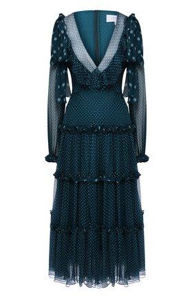 Шелковое платье-миди с оборками и принтом | Фото №1