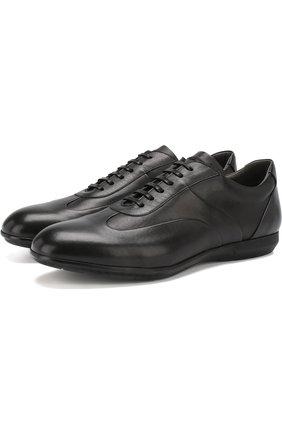 Кожаные кроссовки на шнуровке Moreschi черные | Фото №1