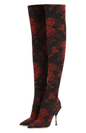 Текстильные ботфорты Cardinale с принтом | Фото №1