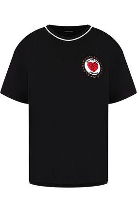 Хлопковая футболка с круглым вырезом и декоративной отделкой | Фото №1