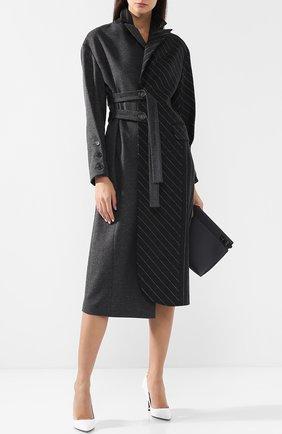 Шерстяное пальто прямого кроя Ruban серого цвета | Фото №1