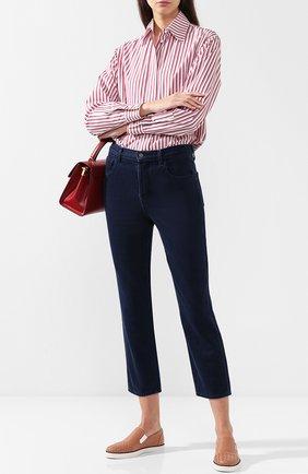 Кожаные слипоны с плетением intrecciato Bottega Veneta розовые | Фото №1
