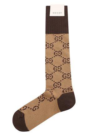 Женские хлопковые носки GUCCI коричневого цвета, арт. 476336/3G701 | Фото 1