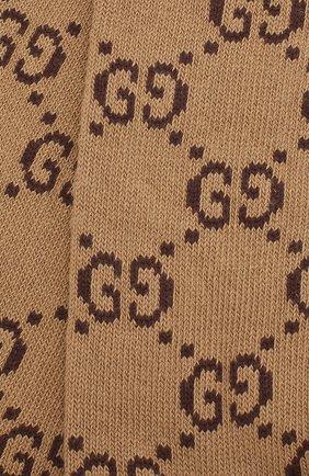 Женские хлопковые носки GUCCI коричневого цвета, арт. 476336/3G701 | Фото 2