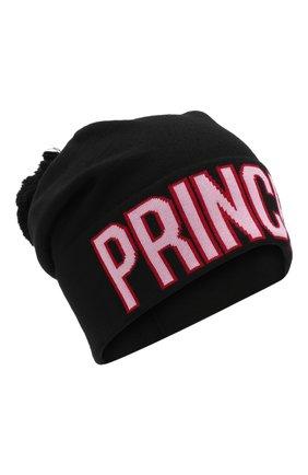 Шерстяная шапка с принтом и помпоном Dolce & Gabbana черного цвета | Фото №1