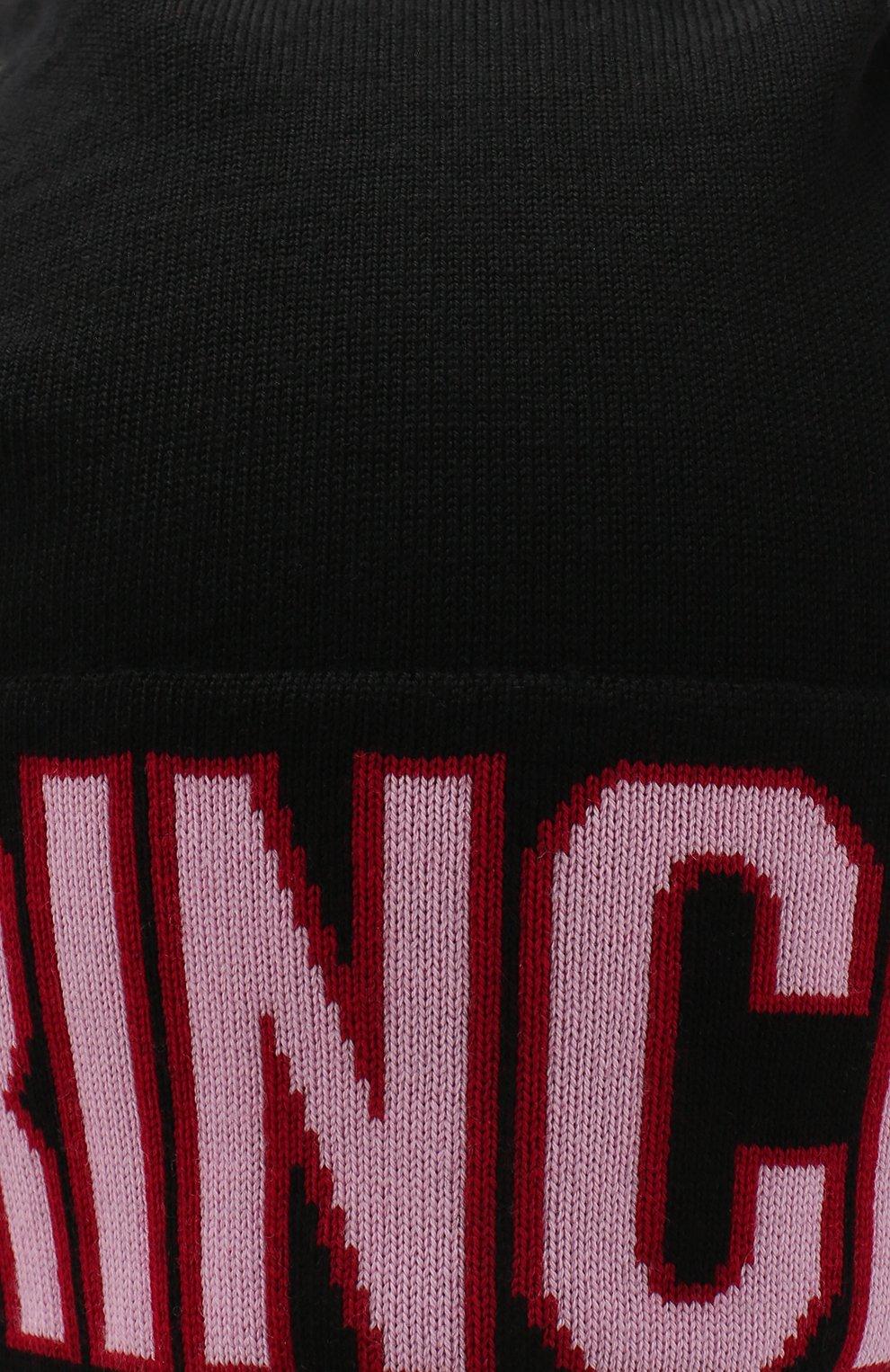 Шерстяная шапка с принтом и помпоном Dolce & Gabbana черного цвета | Фото №3