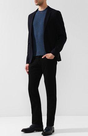 Кожаные дерби Calfskin на шнуровке Moreschi темно-синие | Фото №1