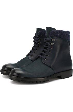 Высокие кожаные ботинки на шнуровке Moreschi темно-синие | Фото №1