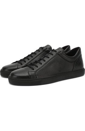 Кожаные кеды Deerskin на шнуровке Moreschi черные | Фото №1