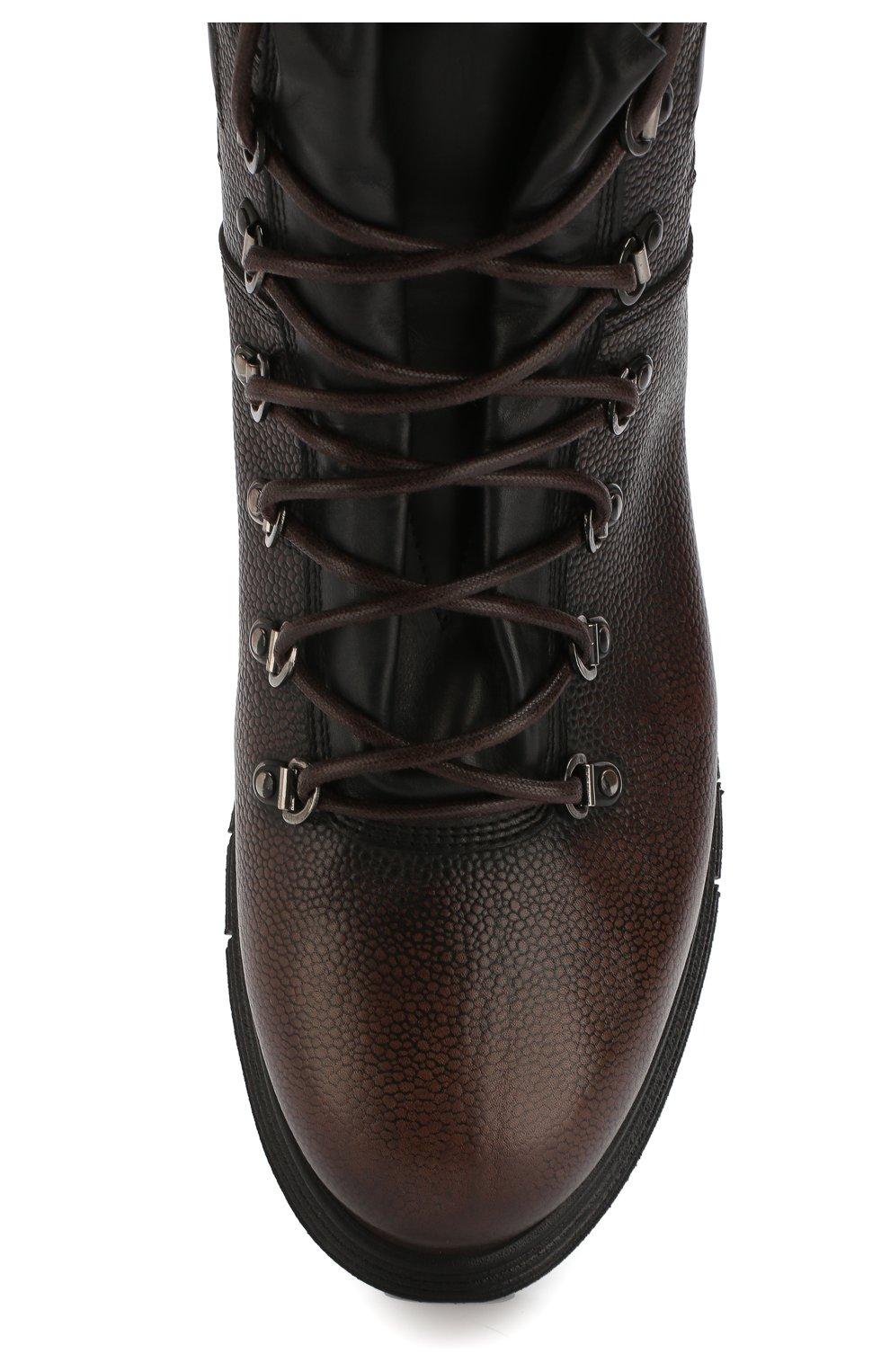 d2aaa5f79 Высокие кожаные ботинки на шнуровке с внутренней меховой отделкой W.Gibbs  темно-коричневые