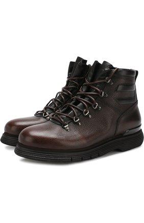 Высокие кожаные ботинки на шнуровке с внутренней меховой отделкой W.Gibbs темно-синие | Фото №1