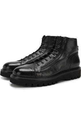 Высокие кожаные ботинки на шнуровке с внутренней меховой отделкой W.Gibbs черные | Фото №1