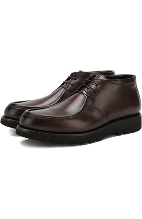 Кожаные ботинки на шнуровке с внутренней меховой отделкой W.Gibbs темно-коричневые | Фото №1
