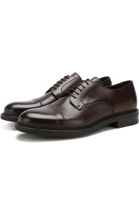 Кожаные дерби Ferrara на шнуровке W.Gibbs черные | Фото №1