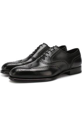 Кожаные оксфорды Venezia на шнуровке с брогированием W.Gibbs черные | Фото №1