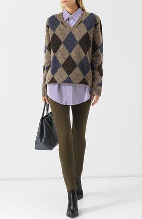 Шерстяной пуловер с V-образным вырезом Polo Ralph Lauren серый | Фото №1
