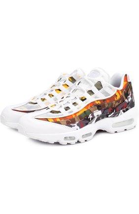 Комбинированные кроссовки Air Max 95 ERDL Party QS на шнуровке с декоративной отделкой NikeLab разноцветные   Фото №1