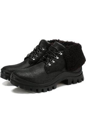 Кожаные ботинки на шнуровке с внутренней меховой отделкой H`D`S`N Baracco черные   Фото №1