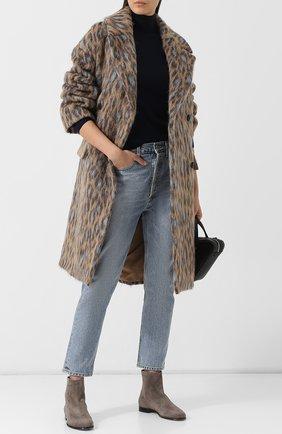 Двубортное пальто с отложным воротником Kenzo бежевого цвета | Фото №1