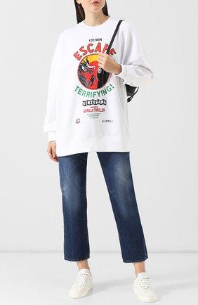 Хлопковый пуловер с принтом Kenzo белый | Фото №1