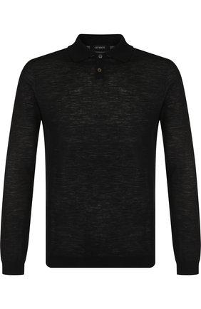 Поло из смеси шерсти и хлопка с длинными рукавами Cividini черное | Фото №1