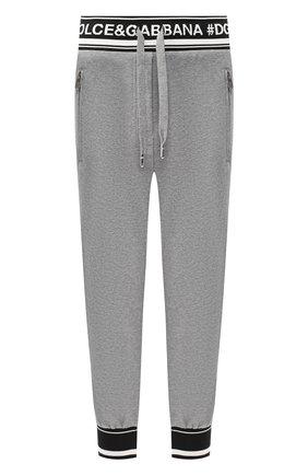Женские укороченные хлопковые брюки с логотипом бренда DOLCE & GABBANA серого цвета, арт. FTA7ST/FU7DU | Фото 1