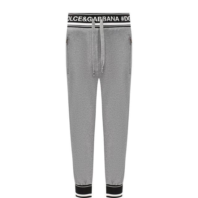 Укороченные хлопковые брюки с логотипом бренда Dolce & Gabbana