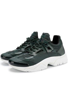 Комбинированные кроссовки на шнуровке Kenzo зеленые | Фото №1