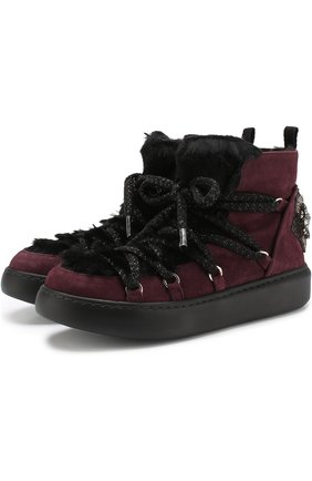 Комбинированные ботинки на шнуровке Baldan бордовые | Фото №1