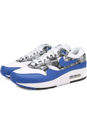 Комбинированные кроссовки Atmos Air Max 1 Print на шнуровке с декоративной отделкой | Фото №1