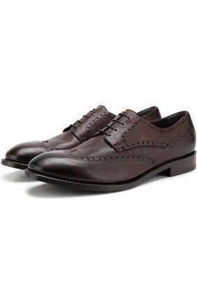 Кожаные дерби Calfskin на шнуровке с брогированием Moreschi коричневые | Фото №1