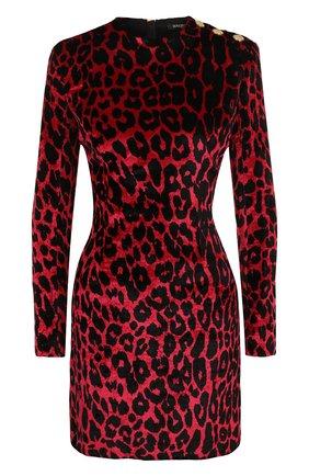 Бархатное мини-платье с принтом Balmain красное   Фото №1