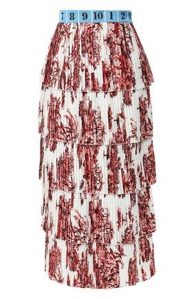 Плиссированная юбка-миди с оборками и принтом Stella Jean разноцветная | Фото №1