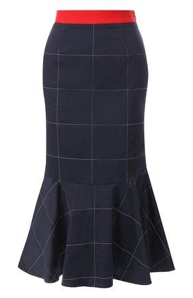 Хлопковая юбка-миди с оборкой Stella Jean темно-синяя | Фото №1