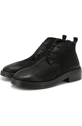 Кожаные ботинки с эффектом состаривания Marsell черные | Фото №1
