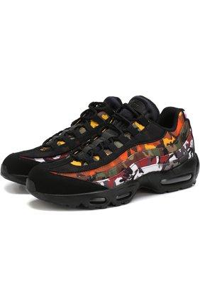 Комбинированные кроссовки Air Max 95 ERDL Party QS на шнуровке с декоративной отделкой NikeLab черные   Фото №1