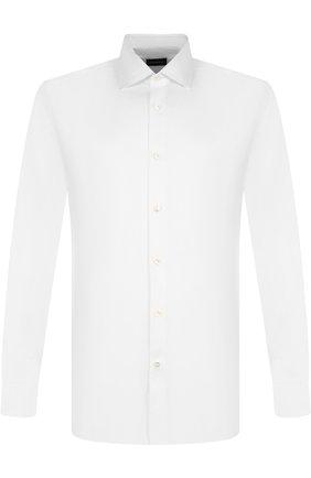 Мужская хлопковая сорочка с воротником кент ERMENEGILDO ZEGNA белого цвета, арт. 404080/9HS0MT | Фото 1
