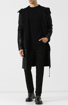 Однобортное кожаное пальто с капюшоном Transit черного цвета | Фото №1