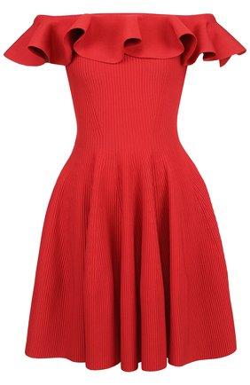 Приталенное мини-платье с оборкой | Фото №1