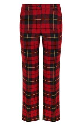 Укороченные кашемировые брюки в клетку Michael Kors Collection красные | Фото №1