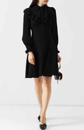 Шелковое платье с оборами Michael Kors Collection черное | Фото №1