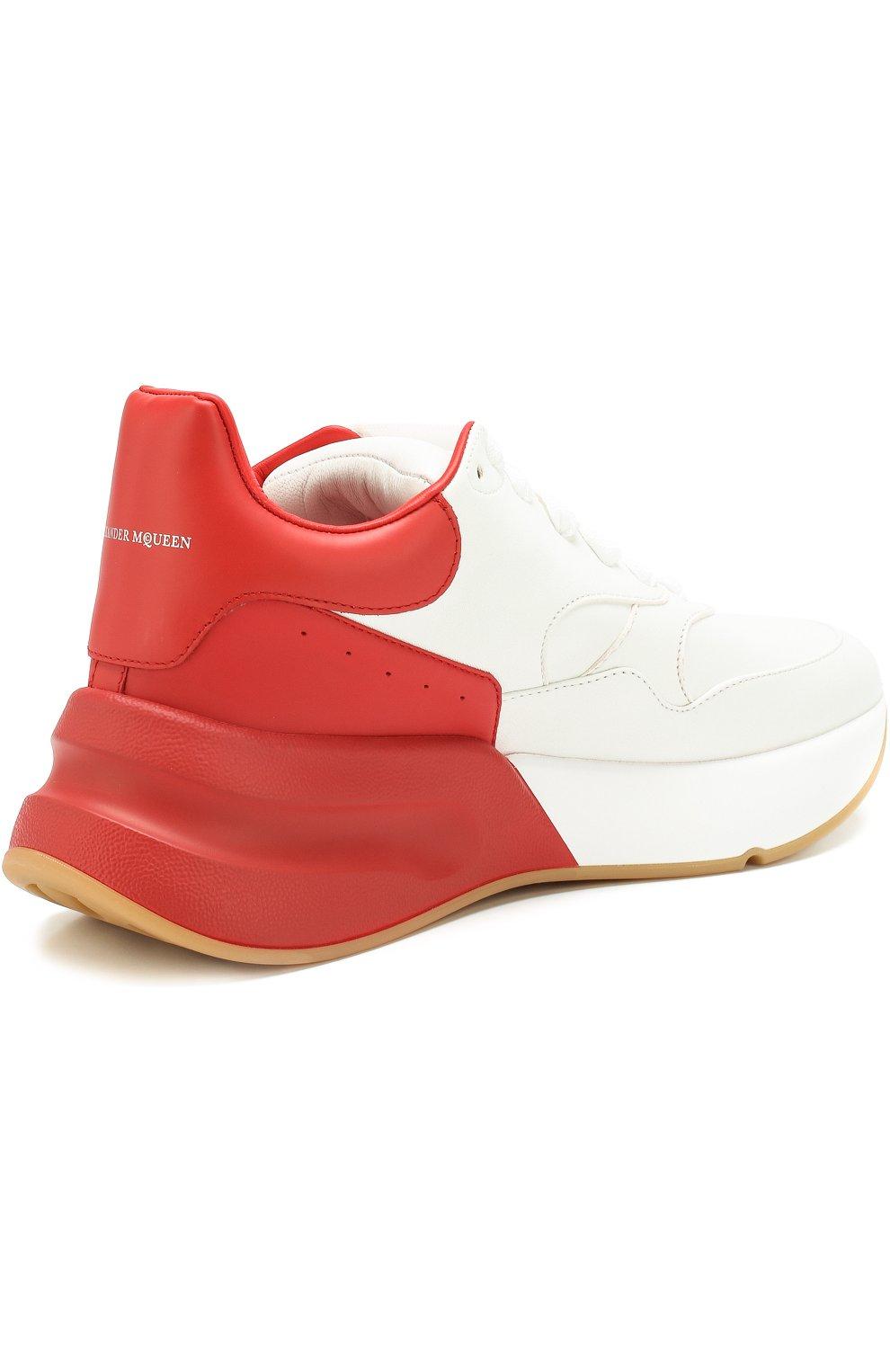 Кожаные кроссовки на массивной подошве | Фото №4