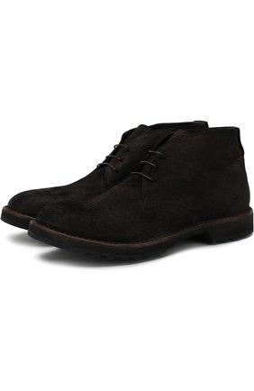 Кожаные ботинки на шнуровке Moma темно-коричневые | Фото №1