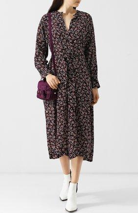 Шелковое платье-миди с поясом и принтом Isabel Marant черное   Фото №1