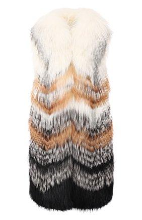 Жилет из меха лисы Yves Salomon черный | Фото №1